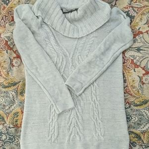 Maternity cable knit turtleneck sweater